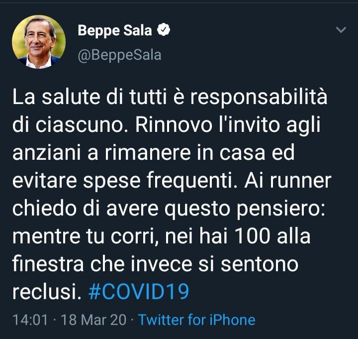 Tweed del Sindaco Sala di Milano contro i Runners: un esempio di assurda mentalità pro-lockdown