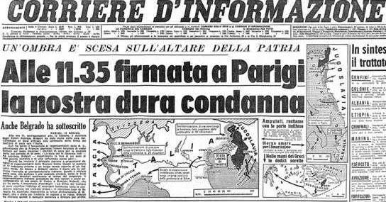 Corriere: la notizia della firma del Trattato di Parigi