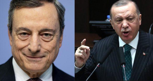 volto di mario draghi e busto di erdogan